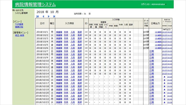 日誌情報の入力管理画面